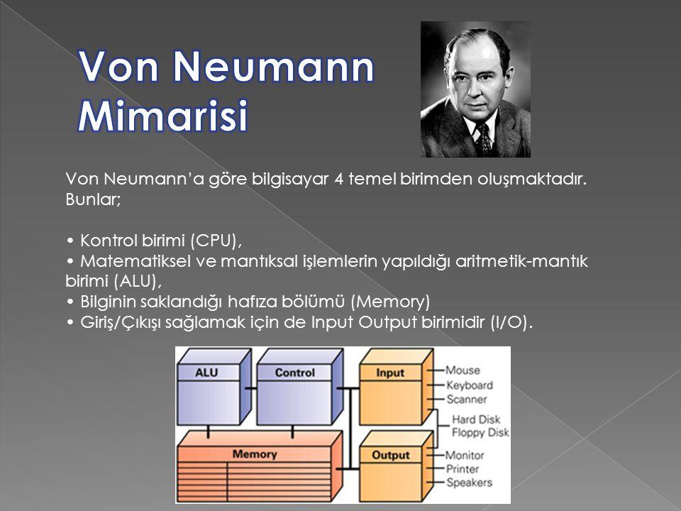 Von Neumann'a göre bilgisayar 4 temel birimden oluşmaktadır. Bunlar; Kontrol birimi (CPU), Matematiksel ve mantıksal işlemlerin yapıldığı aritmetik-ma