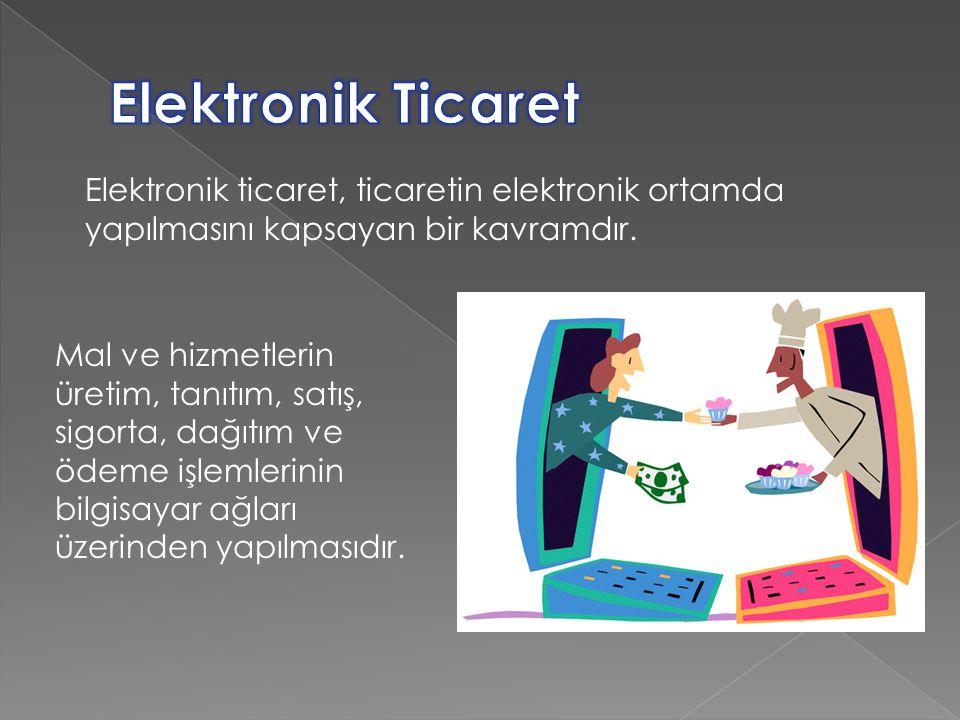 Elektronik ticaret, ticaretin elektronik ortamda yapılmasını kapsayan bir kavramdır. Mal ve hizmetlerin üretim, tanıtım, satış, sigorta, dağıtım ve öd