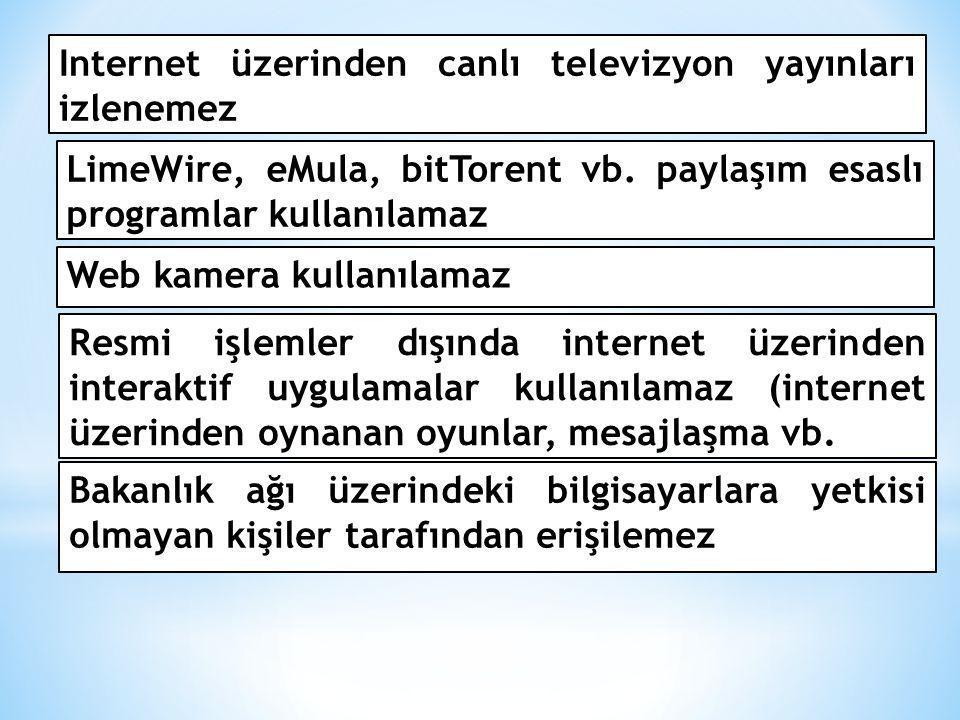 LimeWire, eMula, bitTorent vb. paylaşım esaslı programlar kullanılamaz Web kamera kullanılamaz Resmi işlemler dışında internet üzerinden interaktif uy