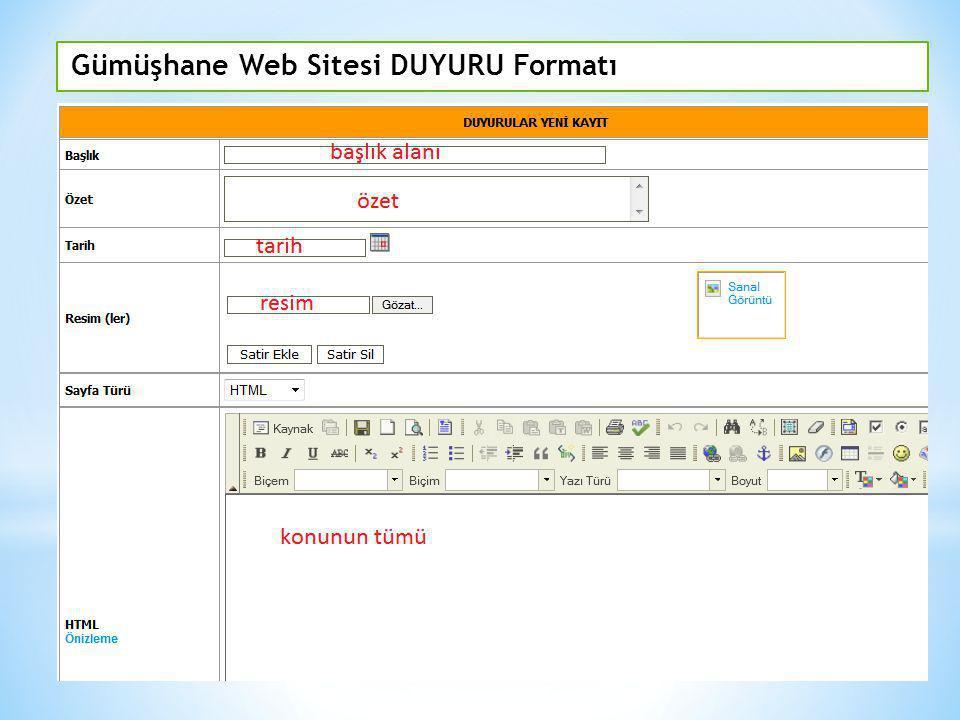 Gümüşhane Web Sitesi DUYURU Formatı