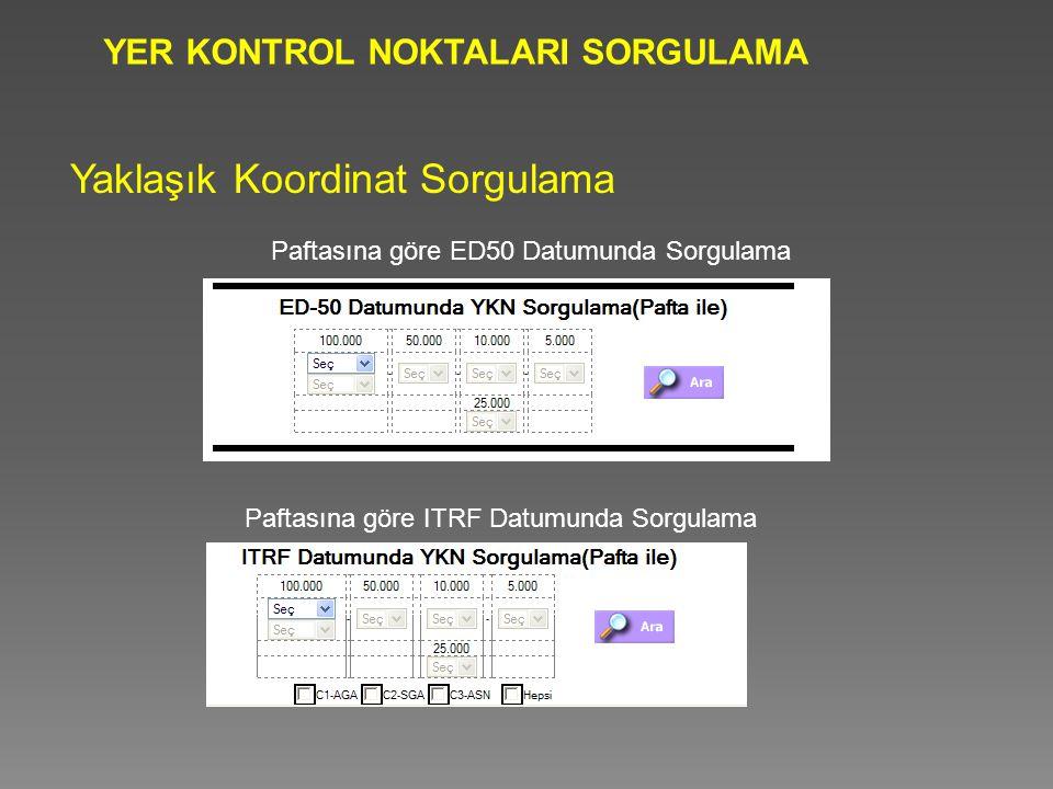 YER KONTROL NOKTALARI SORGULAMA Yaklaşık Koordinat Sorgulama Paftasına göre ED50 Datumunda Sorgulama Paftasına göre ITRF Datumunda Sorgulama