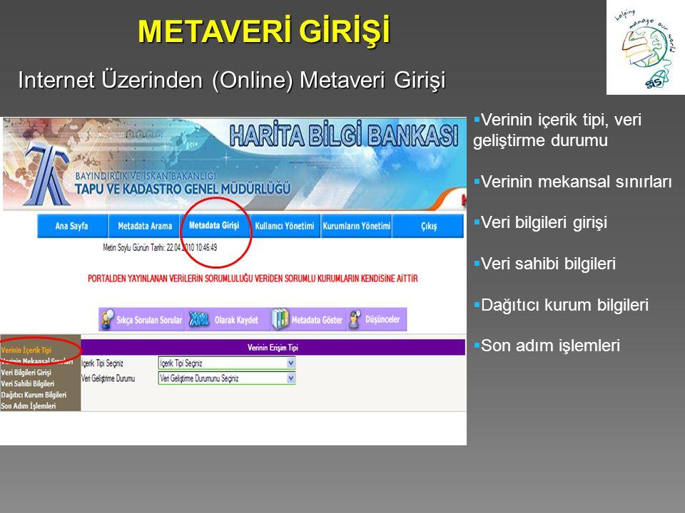 METAVERİ GİRİŞİ Internet Üzerinden (Online) Metaveri Girişi  Verinin içerik tipi, veri geliştirme durumu  Verinin mekansal sınırları  Veri bilgiler