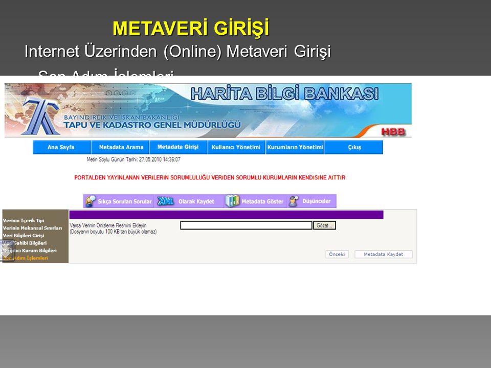 Internet Üzerinden (Online) Metaveri Girişi METAVERİ GİRİŞİ Son Adım İşlemleri
