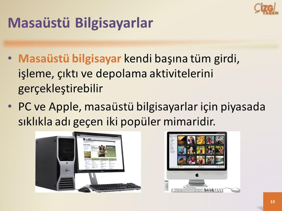 Masaüstü Bilgisayarlar Masaüstü bilgisayar kendi başına tüm girdi, işleme, çıktı ve depolama aktivitelerini gerçekleştirebilir PC ve Apple, masaüstü bilgisayarlar için piyasada sıklıkla adı geçen iki popüler mimaridir.