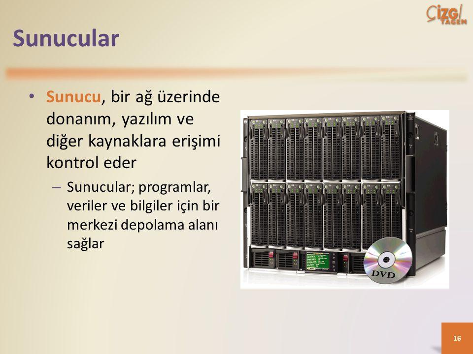 Sunucular Sunucu, bir ağ üzerinde donanım, yazılım ve diğer kaynaklara erişimi kontrol eder – Sunucular; programlar, veriler ve bilgiler için bir merkezi depolama alanı sağlar 16