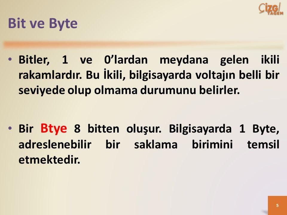Bit ve Byte Bitler, 1 ve 0'lardan meydana gelen ikili rakamlardır.