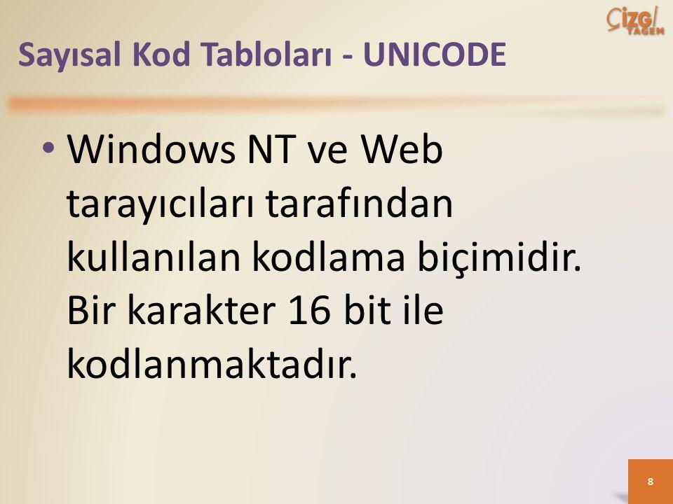 Sayısal Kod Tabloları - UNICODE Windows NT ve Web tarayıcıları tarafından kullanılan kodlama biçimidir.