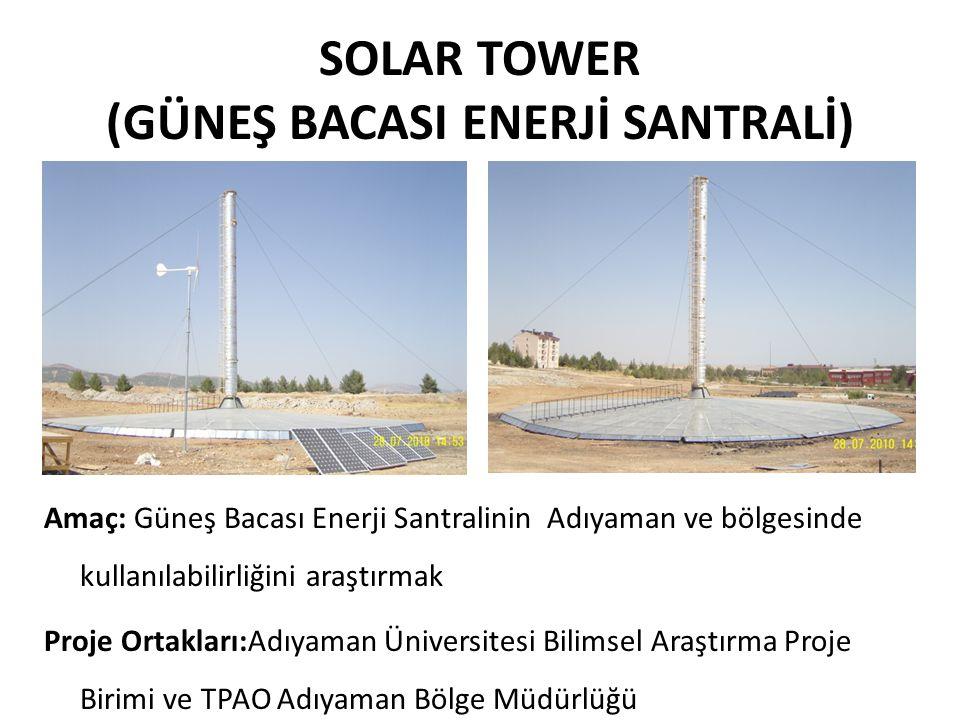 SOLAR TOWER (GÜNEŞ BACASI ENERJİ SANTRALİ) Amaç: Güneş Bacası Enerji Santralinin Adıyaman ve bölgesinde kullanılabilirliğini araştırmak Proje Ortaklar