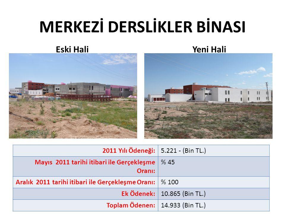 MERKEZİ DERSLİKLER BİNASI 2011 Yılı Ödeneği:5.221 - (Bin TL.) Mayıs 2011 tarihi itibari ile Gerçekleşme Oranı: % 45 Aralık 2011 tarihi itibari ile Ger