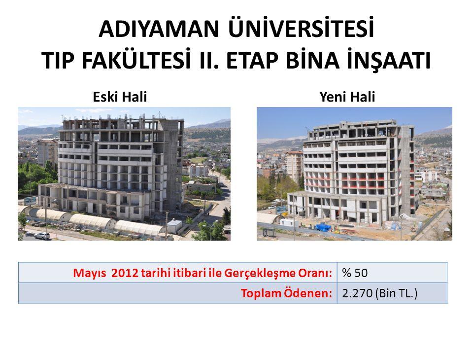 ADIYAMAN ÜNİVERSİTESİ TIP FAKÜLTESİ II. ETAP BİNA İNŞAATI Mayıs 2012 tarihi itibari ile Gerçekleşme Oranı:% 50 Toplam Ödenen:2.270 (Bin TL.) Eski Hali