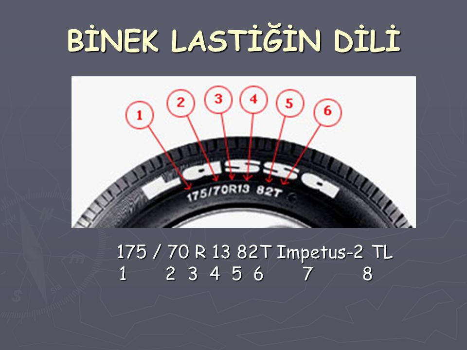 BİNEK LASTİĞİN DİLİ 175 / 70 R 13 82T Impetus-2 TL 1 2 3 4 5 6 7 8 175 / 70 R 13 82T Impetus-2 TL 1 2 3 4 5 6 7 8