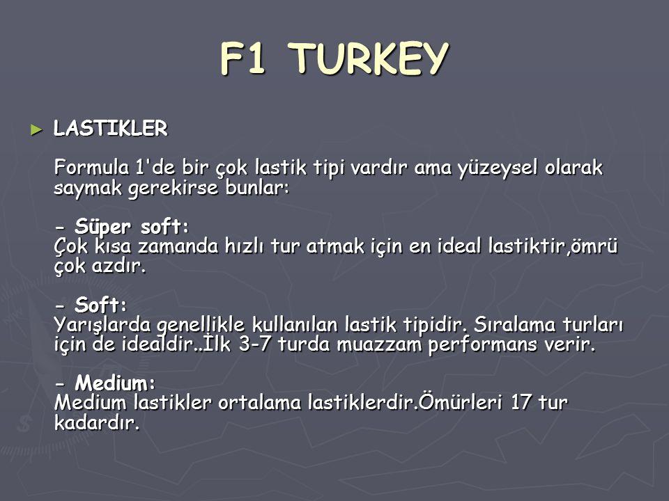 F1 TURKEY ► LASTIKLER Formula 1'de bir çok lastik tipi vardır ama yüzeysel olarak saymak gerekirse bunlar: - Süper soft: Çok kısa zamanda hızlı tur at