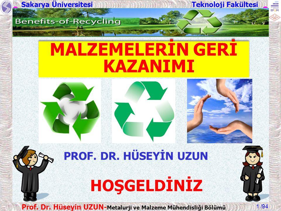 Sakarya Üniversitesi Teknoloji Fakültesi /94 Prof. Dr. Hüseyin UZUN- Metalurji ve Malzeme Mühendisliği Bölümü 1 HOŞGELDİNİZ PROF. DR. HÜSEYİN UZUN MAL