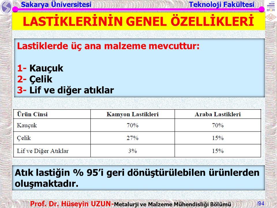 Sakarya Üniversitesi Teknoloji Fakültesi /94 Prof. Dr. Hüseyin UZUN- Metalurji ve Malzeme Mühendisliği Bölümü LASTİKLERİNİN GENEL ÖZELLİKLERİ Lastikle