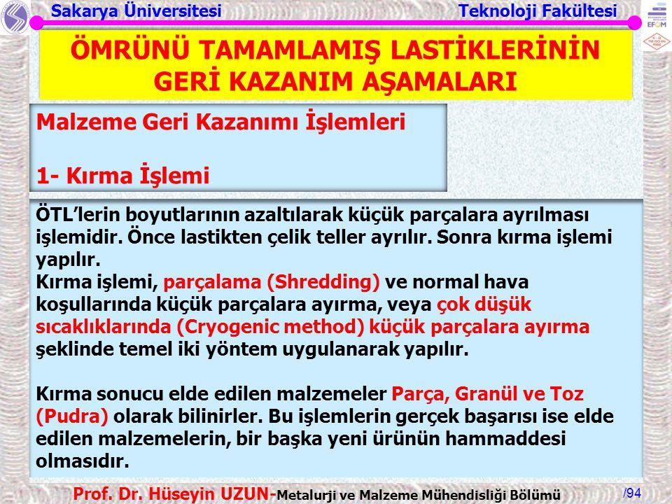 Sakarya Üniversitesi Teknoloji Fakültesi /94 Prof. Dr. Hüseyin UZUN- Metalurji ve Malzeme Mühendisliği Bölümü Malzeme Geri Kazanımı İşlemleri 1- Kırma
