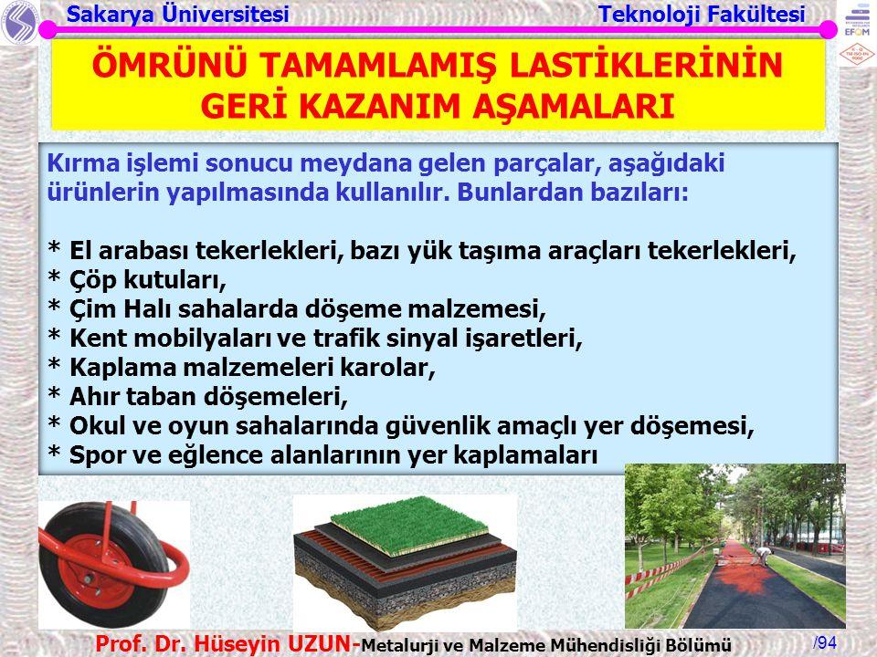 Sakarya Üniversitesi Teknoloji Fakültesi /94 Prof. Dr. Hüseyin UZUN- Metalurji ve Malzeme Mühendisliği Bölümü Kırma işlemi sonucu meydana gelen parçal