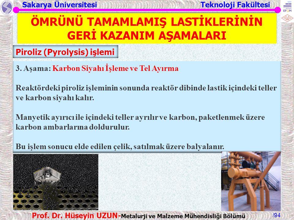 Sakarya Üniversitesi Teknoloji Fakültesi /94 Prof. Dr. Hüseyin UZUN- Metalurji ve Malzeme Mühendisliği Bölümü 3. Aşama: Karbon Siyahı İşleme ve Tel Ay