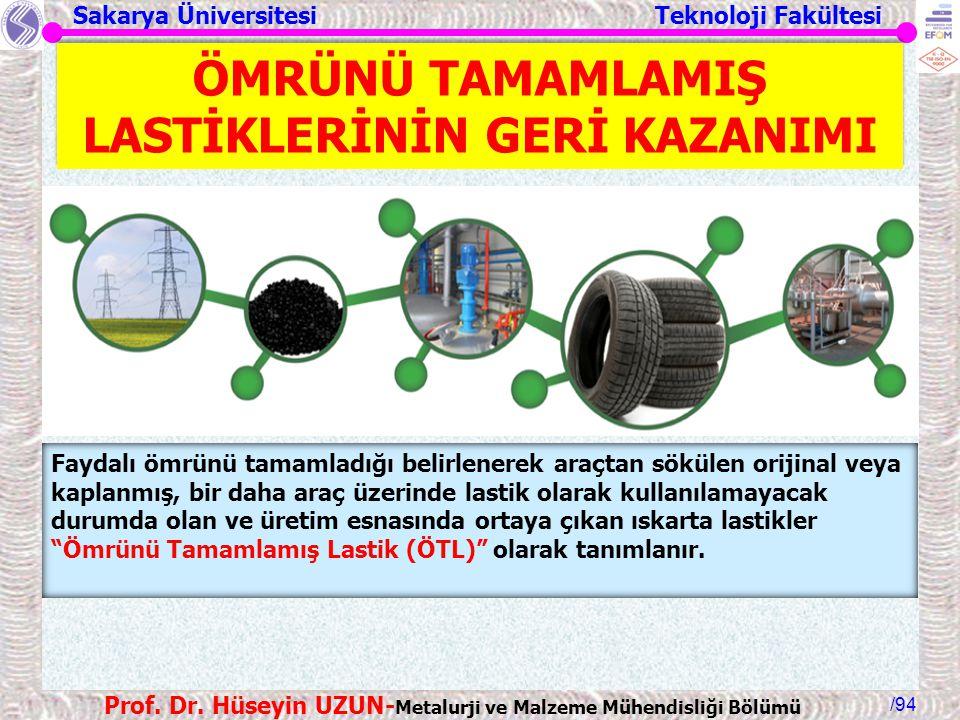 Sakarya Üniversitesi Teknoloji Fakültesi /94 Prof. Dr. Hüseyin UZUN- Metalurji ve Malzeme Mühendisliği Bölümü Faydalı ömrünü tamamladığı belirlenerek