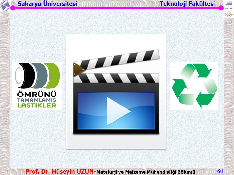 Sakarya Üniversitesi Teknoloji Fakültesi /94 Prof. Dr. Hüseyin UZUN- Metalurji ve Malzeme Mühendisliği Bölümü