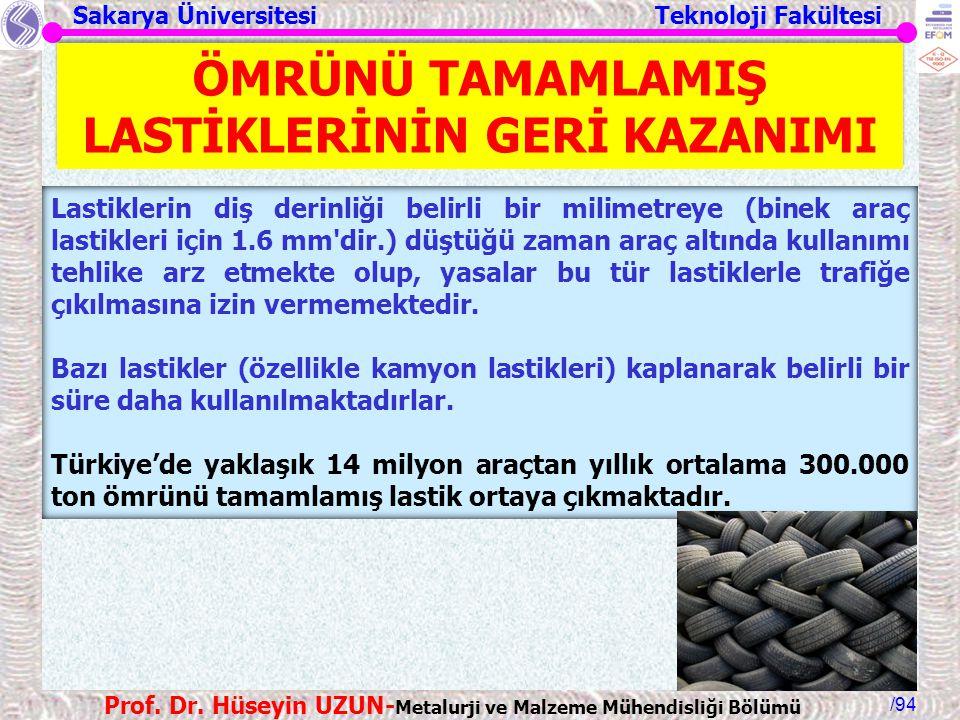 Sakarya Üniversitesi Teknoloji Fakültesi /94 Prof. Dr. Hüseyin UZUN- Metalurji ve Malzeme Mühendisliği Bölümü Lastiklerin diş derinliği belirli bir mi