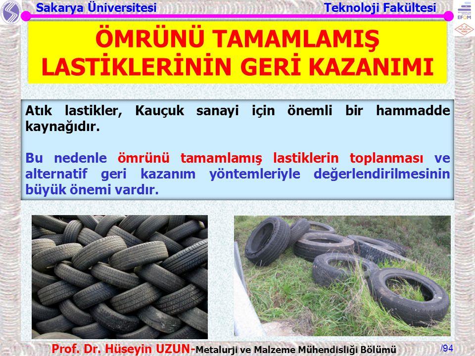 Sakarya Üniversitesi Teknoloji Fakültesi /94 Prof. Dr. Hüseyin UZUN- Metalurji ve Malzeme Mühendisliği Bölümü Atık lastikler, Kauçuk sanayi için öneml