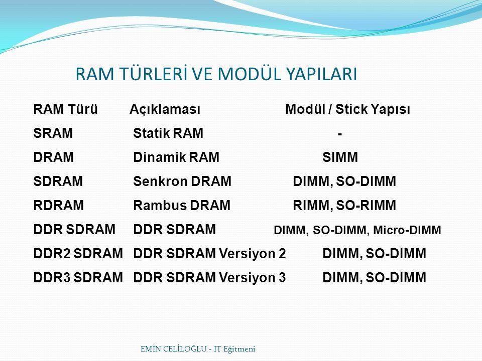 EMİN CELİLOĞLU - IT Eğitmeni RAM Türü Açıklaması Modül / Stick Yapısı SRAM Statik RAM - DRAM Dinamik RAM SIMM SDRAM Senkron DRAM DIMM, SO-DIMM RDRAM Rambus DRAM RIMM, SO-RIMM DDR SDRAM DDR SDRAM DIMM, SO-DIMM, Micro-DIMM DDR2 SDRAM DDR SDRAM Versiyon 2 DIMM, SO-DIMM DDR3 SDRAM DDR SDRAM Versiyon 3 DIMM, SO-DIMM RAM TÜRLERİ VE MODÜL YAPILARI
