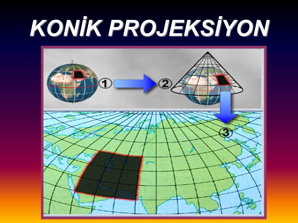 KONİK PROJEKSİYON Orta enlemler ve çevresinde kullanılır.