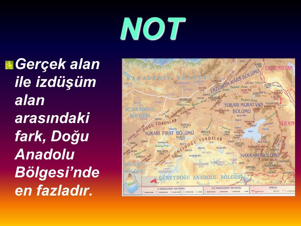 NOT Aradaki fark yaklaşık 34.000 km²dir. Bu durum ülkemizin çok engebeli olduğunu gösterir.