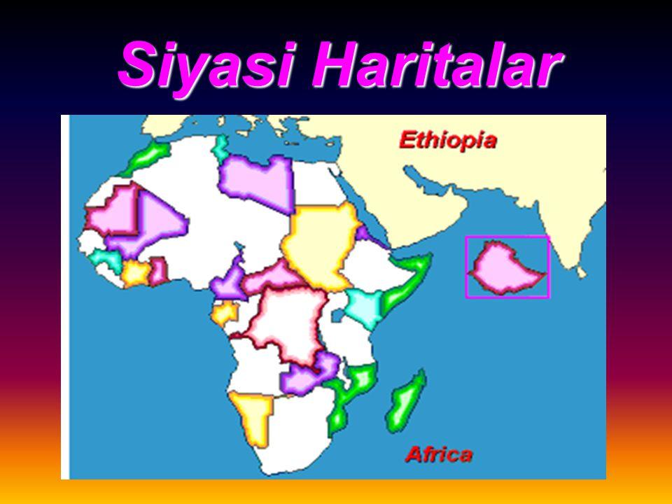Siyasi Haritalar Dünya üzerindeki ülkelerin sınırlarını komşularını ülkeler içindeki idari bölünüşlerini gösteren haritalardır. Bunlara İdari Haritala