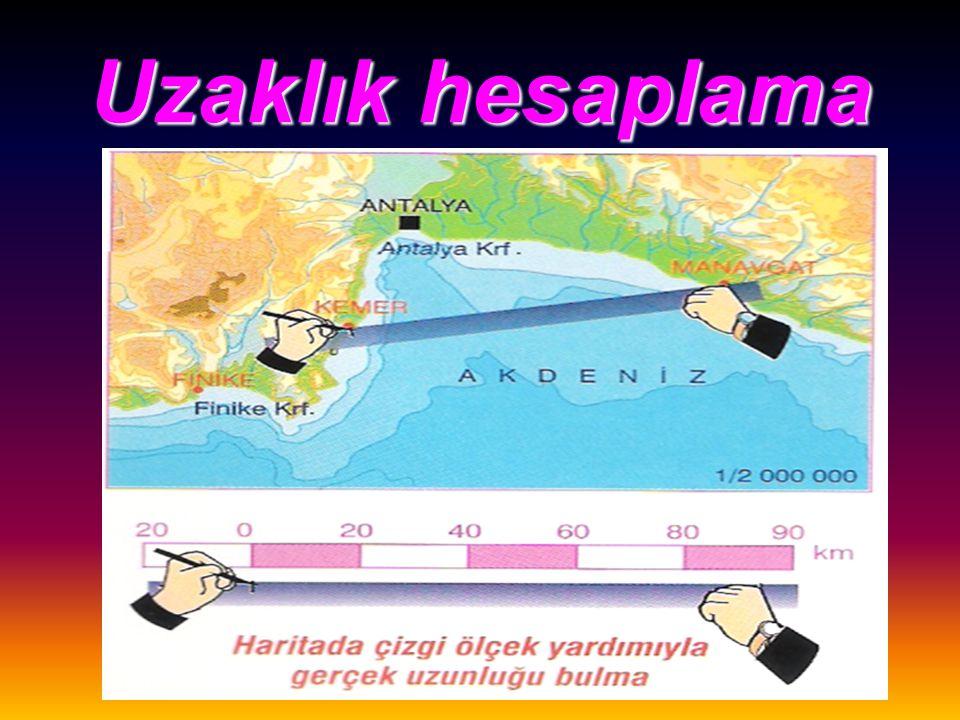 Bütün haritalardan Uzaklık Alan Yön tayini Konum belirlemede yararlanılır. Saat hesaplamaları yapılabilir.