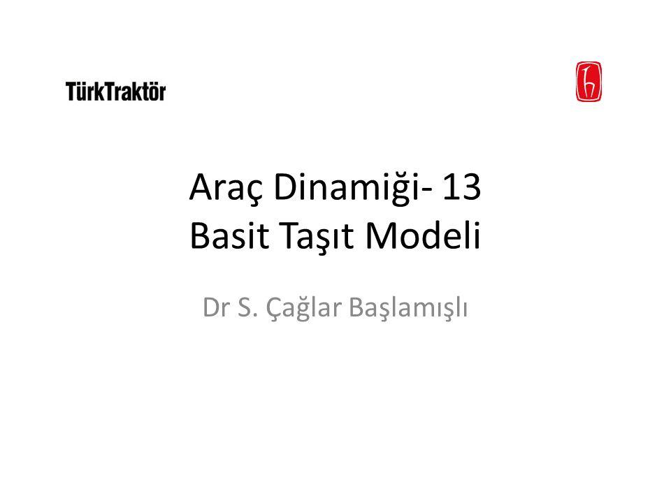 Araç Dinamiği- 13 Basit Taşıt Modeli Dr S. Çağlar Başlamışlı