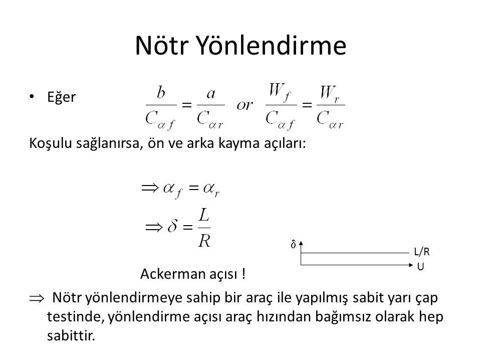 Nötr Yönlendirme Eğer Koşulu sağlanırsa, ön ve arka kayma açıları: Ackerman açısı .