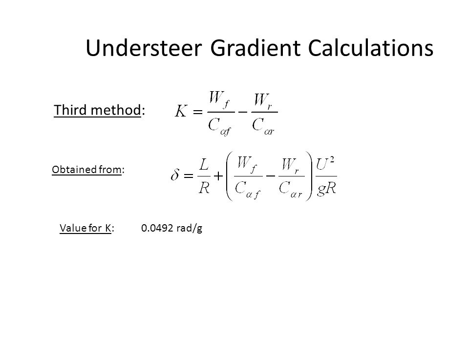 Understeer Gradient Calculations Third method: Obtained from: Value for K: 0.0492 rad/g