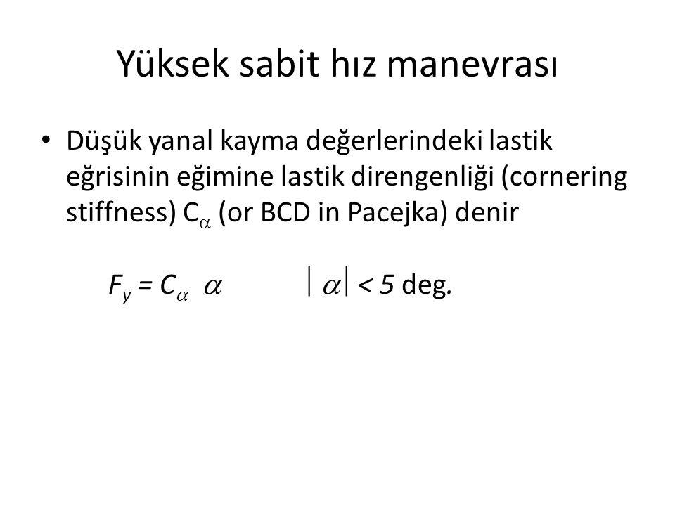 Yüksek sabit hız manevrası Düşük yanal kayma değerlerindeki lastik eğrisinin eğimine lastik direngenliği (cornering stiffness) C  (or BCD in Pacejka) denir F y = C     < 5 deg.