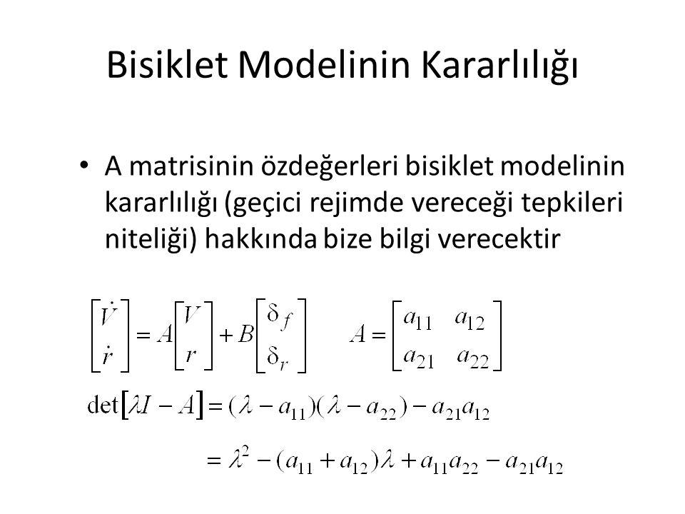 Bisiklet Modelinin Kararlılığı A matrisinin özdeğerleri bisiklet modelinin kararlılığı (geçici rejimde vereceği tepkileri niteliği) hakkında bize bilg