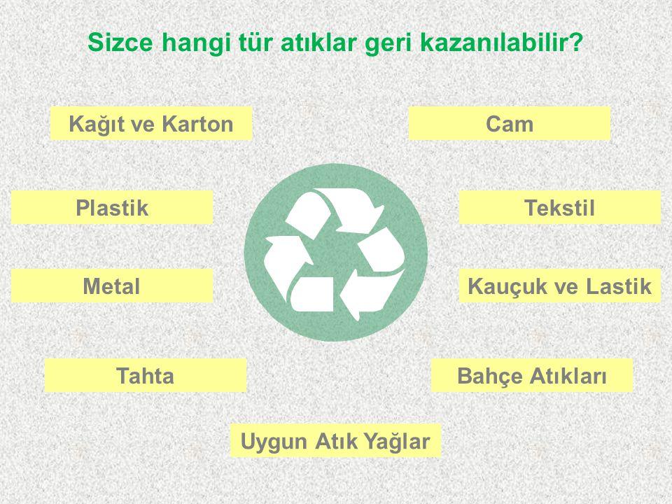 Sizce hangi tür atıklar geri kazanılabilir? Kağıt ve Karton Plastik Cam MetalKauçuk ve Lastik Tekstil TahtaBahçe Atıkları Uygun Atık Yağlar