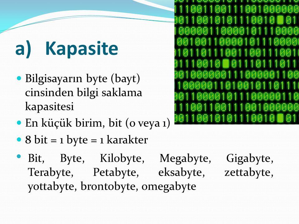a)Kapasite Bilgisayarın byte (bayt) cinsinden bilgi saklama kapasitesi En küçük birim, bit (0 veya 1) 8 bit = 1 byte = 1 karakter Bit, Byte, Kilobyte,