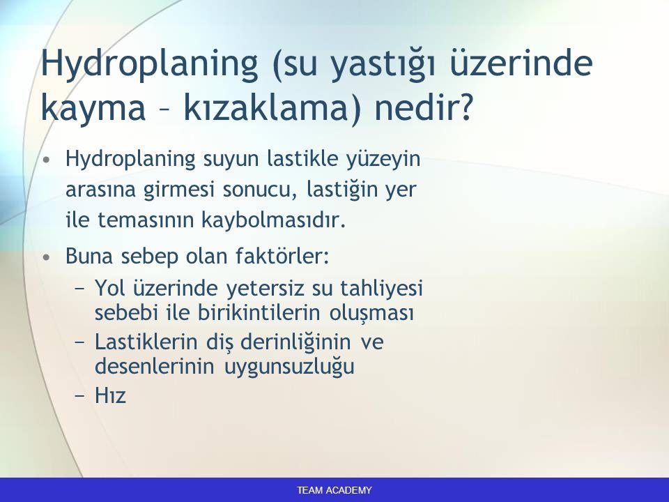 Hydroplaning (su yastığı üzerinde kayma – kızaklama) nedir? Hydroplaning suyun lastikle yüzeyin arasına girmesi sonucu, lastiğin yer ile temasının kay