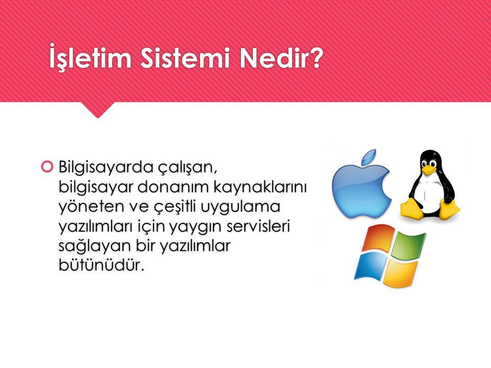 İşletim Sistemi Nedir?  Bilgisayarda çalışan, bilgisayar donanım kaynaklarını yöneten ve çeşitli uygulama yazılımları için yaygın servisleri sağlayan