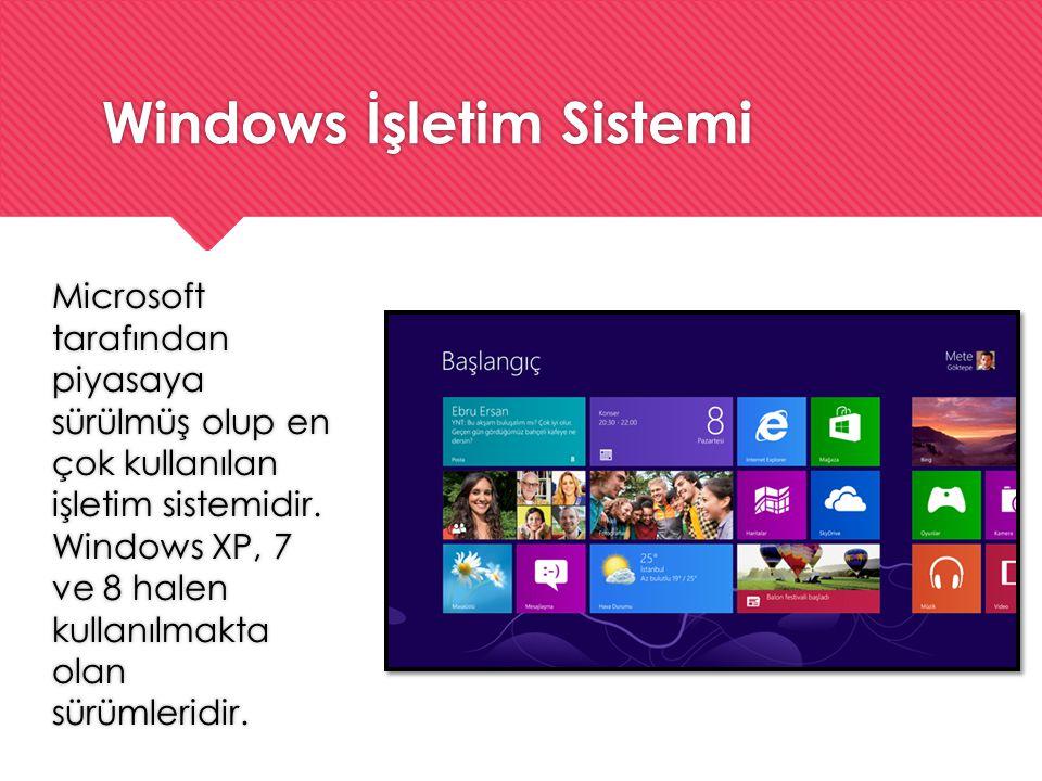 Windows İşletim Sistemi Microsoft tarafından piyasaya sürülmüş olup en çok kullanılan işletim sistemidir. Windows XP, 7 ve 8 halen kullanılmakta olan