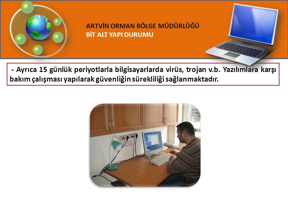 ARTVİN ORMAN BÖLGE MÜDÜRLÜĞÜ BİT ALT YAPI DURUMU - Ayrıca 15 günlük periyotlarla bilgisayarlarda virüs, trojan v.b. Yazılımlara karşı bakım çalışması