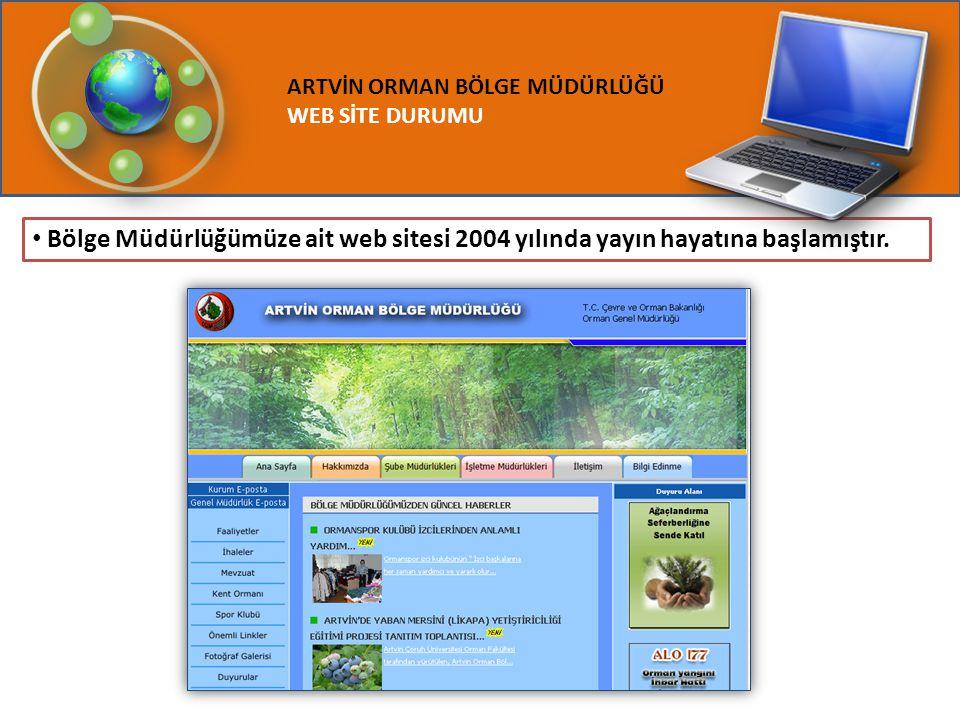 ARTVİN ORMAN BÖLGE MÜDÜRLÜĞÜ WEB SİTE DURUMU Bölge Müdürlüğümüze ait web sitesi 2004 yılında yayın hayatına başlamıştır.