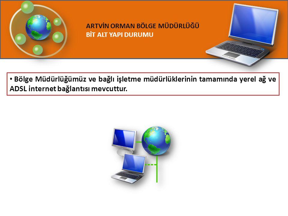 ARTVİN ORMAN BÖLGE MÜDÜRLÜĞÜ BİT ALT YAPI DURUMU Bölge Müdürlüğümüz ve bağlı işletme müdürlüklerinin tamamında yerel ağ ve ADSL internet bağlantısı me
