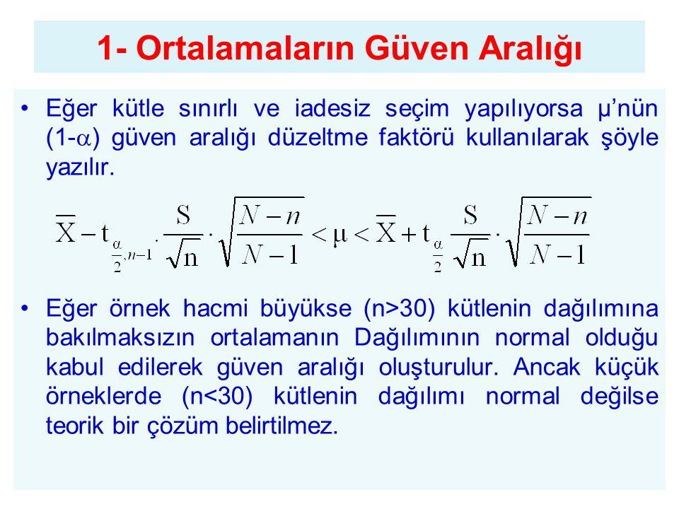 Eğer kütle sınırlı ve iadesiz seçim yapılıyorsa µ'nün (1-  ) güven aralığı düzeltme faktörü kullanılarak şöyle yazılır. Eğer örnek hacmi büyükse (n>3
