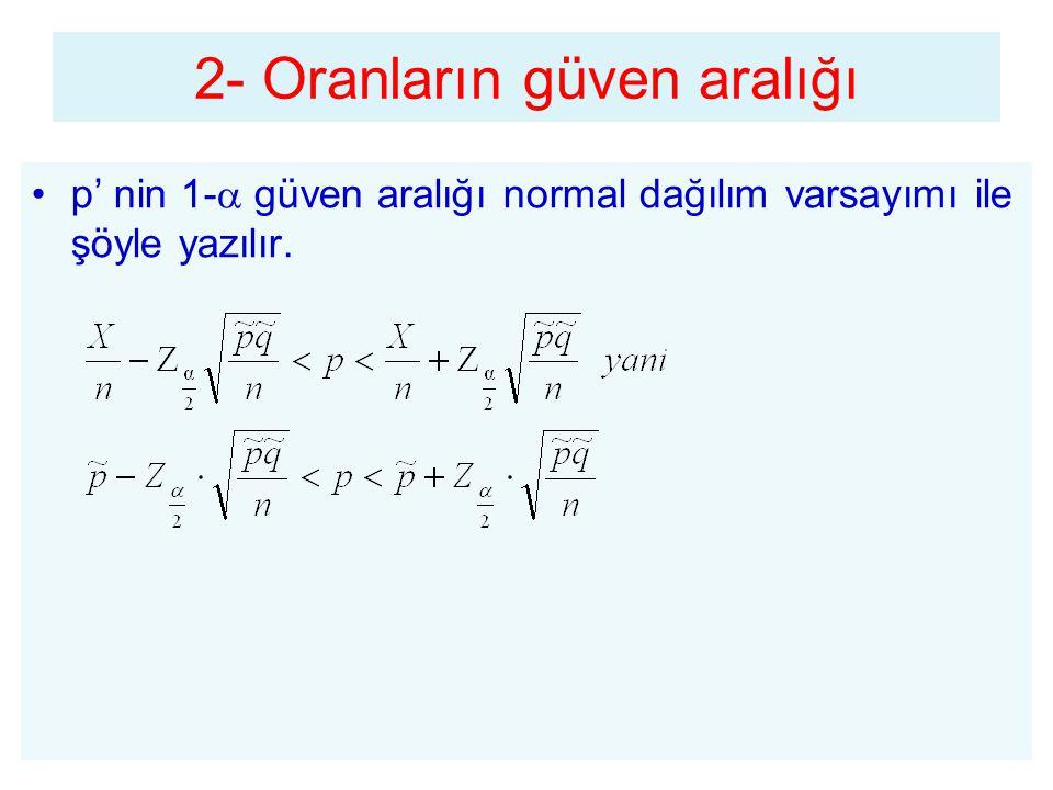p' nin 1-  güven aralığı normal dağılım varsayımı ile şöyle yazılır. 2- Oranların güven aralığı