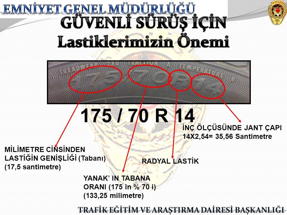 175 / 70 R 14 MİLİMETRE CİNSİNDEN LASTİĞİN GENİŞLİĞİ (Tabanı) (17,5 santimetre) YANAK' IN TABANA ORANI (175 in % 70 i) (133,25 milimetre) RADYAL LASTİ