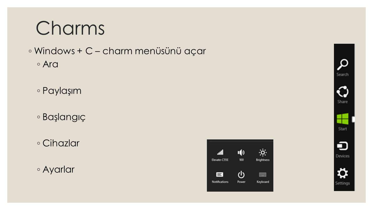 Charms ◦ Windows + C – charm menüsünü açar ◦ Ara ◦ Paylaşım ◦ Başlangıç ◦ Cihazlar ◦ Ayarlar