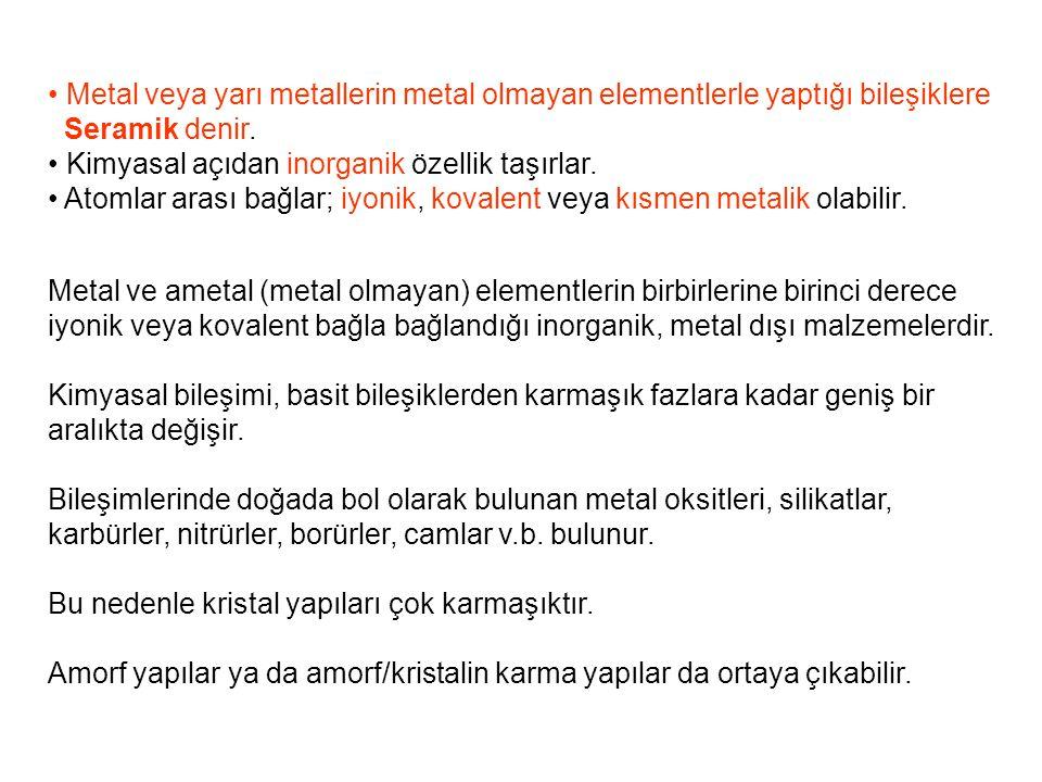 Metal veya yarı metallerin metal olmayan elementlerle yaptığı bileşiklere Seramik denir. Kimyasal açıdan inorganik özellik taşırlar. Atomlar arası bağ