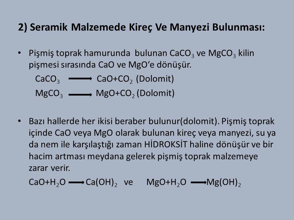 2) Seramik Malzemede Kireç Ve Manyezi Bulunması: Pişmiş toprak hamurunda bulunan CaCO 3 ve MgCO 3 kilin pişmesi sırasında CaO ve MgO'e dönüşür.
