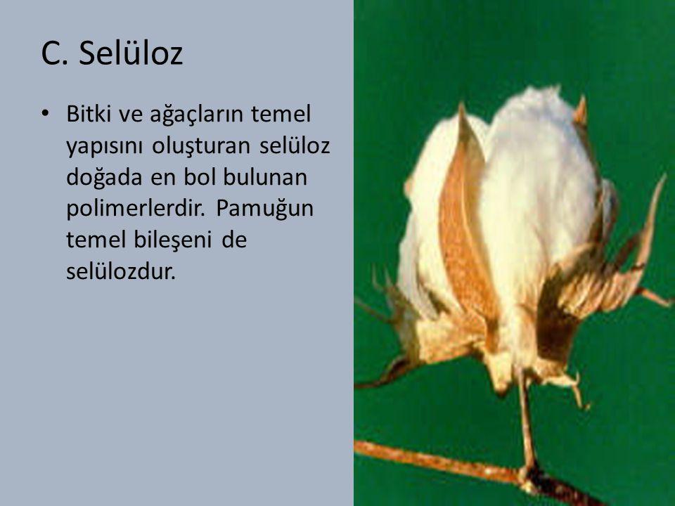 C.Selüloz Bitki ve ağaçların temel yapısını oluşturan selüloz doğada en bol bulunan polimerlerdir.